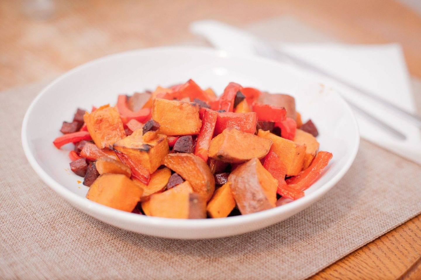 Baked Sweet Potato, Peppers & Chorizo Salad Recipe